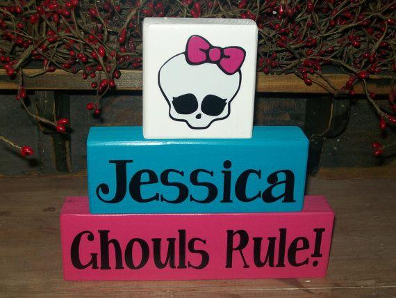 new girls personalized three piece high school monster block sign birthday parties centerpiece girls room decor