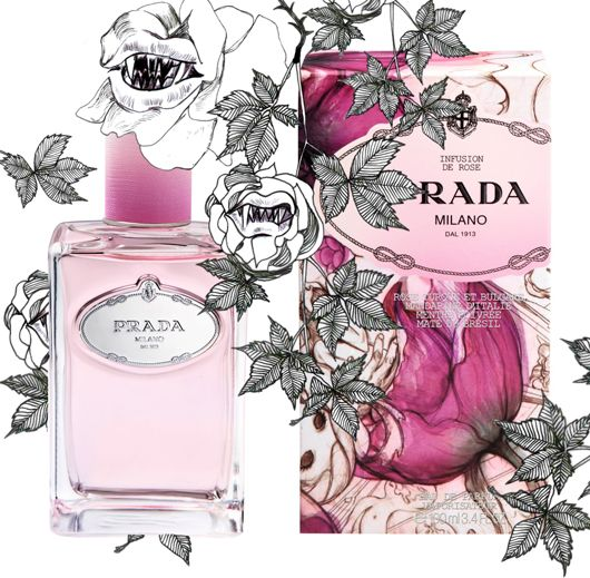 "Prada Infusion de Rose - ""The packaging meets the futuristic art of manga and the fairies of the tradition of art nouveau, taken from the collection of Prada's Spring/Summer 2008, illustrations created by the Taiwanese-American artist James Jean: nymphs of the woods playing in a dream landscape, an enchanted garden of delights, in between Mucha and psychedelic culture."""