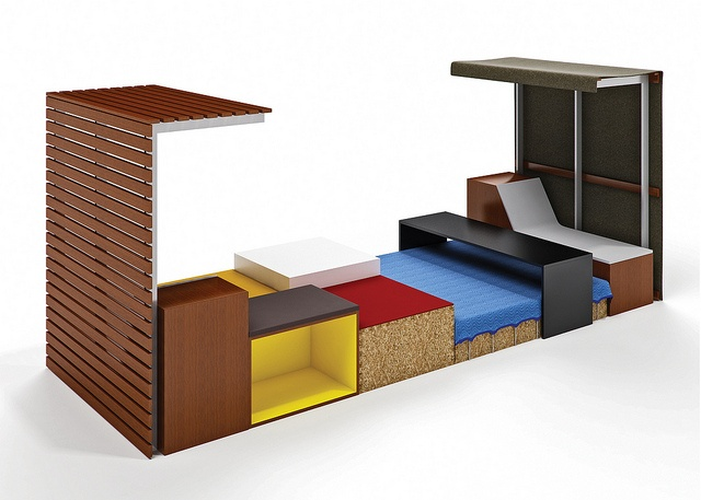 the edge by first office   Merchandise Mart 1132  Designed by Primo Orpilla and Verda Alexander, founders and co-principals of studio o+a in San Francisco, the edge promotes the modern workstyle, creating a new way for people to move out of a workstation, collaborate and hang out. #Neocon12