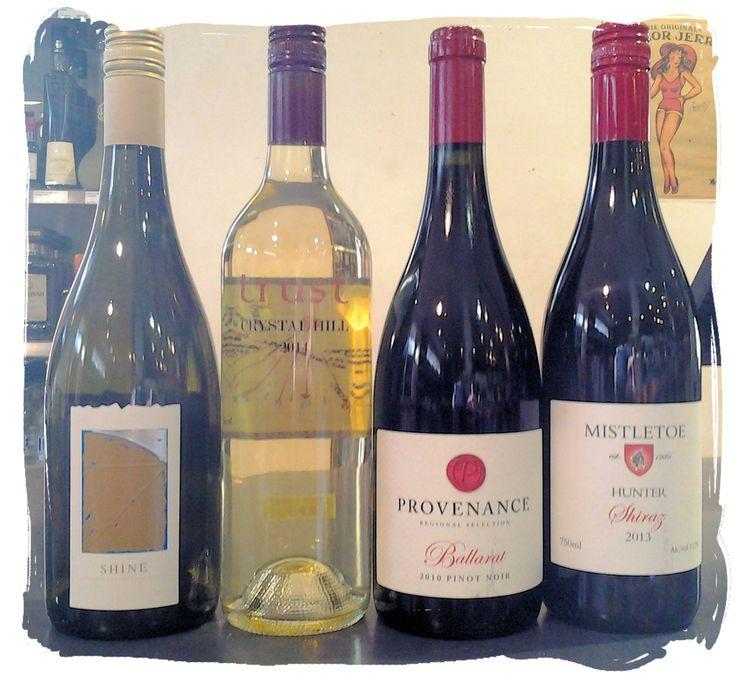 Canobolas Smith Shine Chardonnay 2008 Trust Crystal Hill White 2014 Provenance Golden Plains Pinot Noir 2013 Mistletoe Hunter Shiraz 2013