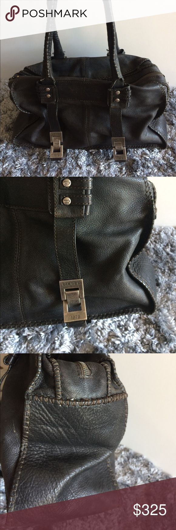 Large blk diesel purse Smells AMAZING!!!!! The leather is extremely soft. Sadly I lent it to a friend and it was returned with stains on the interior, I'm considering having it professionally cleaned. The exterior has some loose threads on one side and one handle needs to have a small section of leather repaired.  I adore this bag even tho it needs a little tlc. Diesel Bags Satchels