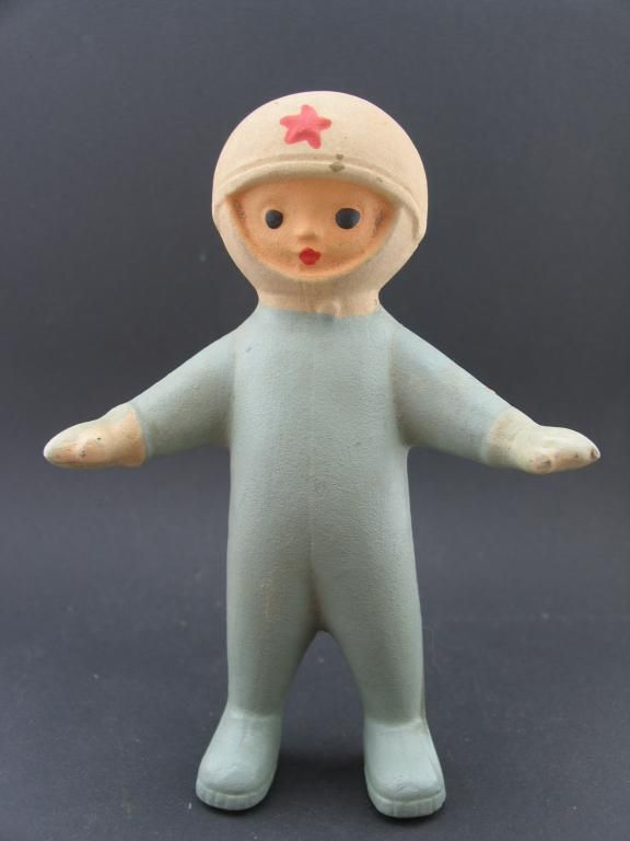 Russian rubber toy astronaut,   I know not plastic but still .... fabulous