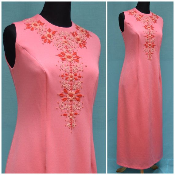 Vintage Dress 1960s Maxi Full length by VintageGreenClothing, £34.99