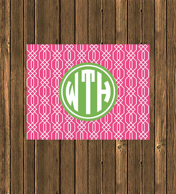 SALE  Personalized Preppy Monogram Notecard  Hot Pink by jpurifoy