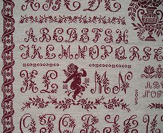 Détail du marquoir rouge en point de croix nomé Sampler Clorami de Clorami Designs