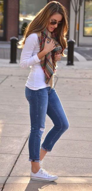 #fall #fashion casual / tartan scarf + denim