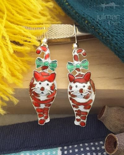 Candy Cane Cat Sterling Silver Earrings - Welcome in the festive season with these Susan Hunt Yule designed cat shaped Sterling Silver earrings. The festive season wouldn't be complete without these earrings. Painted with enamels by talented artists. Silver whiskers give these earrings an authentic touch.