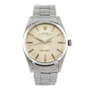 LOT:160 | ROLEX - a gentleman's stainless steel Oyster Perpetual Tru-Beat bracelet watch.