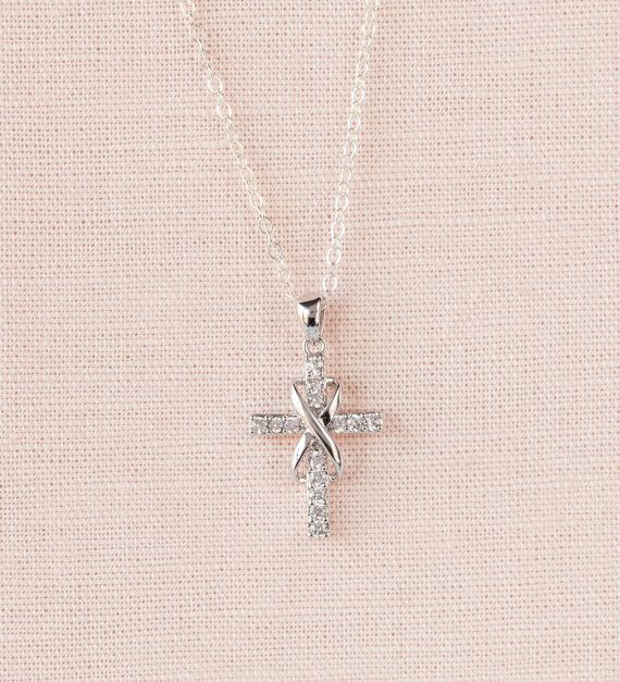 Infinity Cross Necklace Rose Gold Bridal jewelry by CrystalAvenues