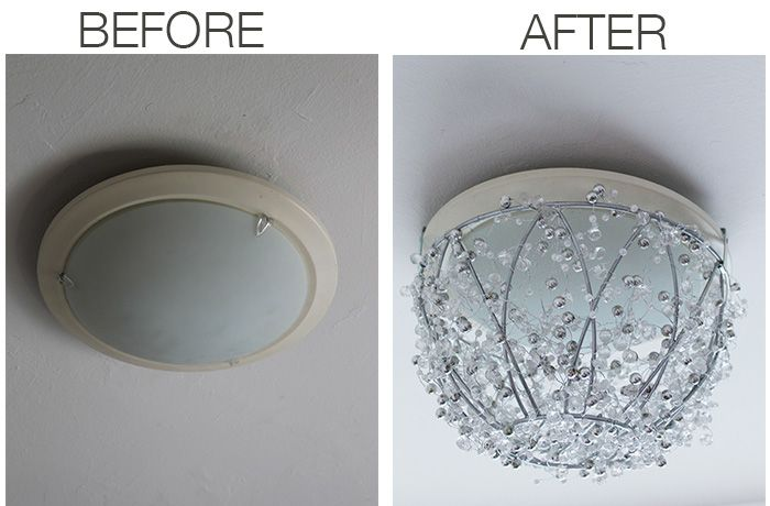 DIY Chandelier | Replace an old light fixture without rewiring with this sparkly DIY chandelier using a hanging plant basket. Make it for about $40 in under an hour! http://www.amandakatherine.com/diy-chandelier/