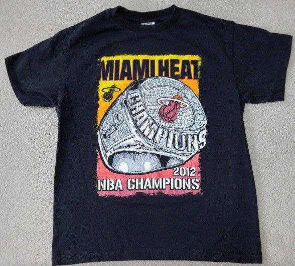 MIAMI HEAT 2012 NBA CHAMPIONS LEBRON JAMES Delta T-Shirt Youth Lrg Black #Delta