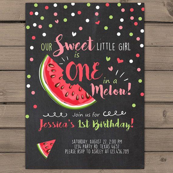 Watermelon Birthday invitation One In A Melon by Anietillustration
