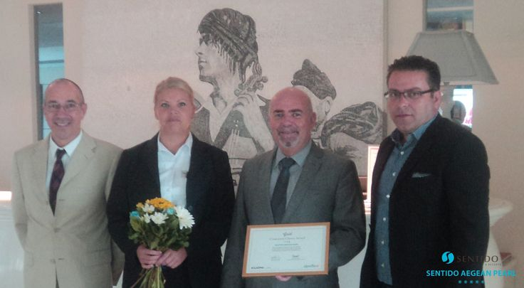 First week of October 2015 ~ Sentido Aegean Pearl receives the Gold Award of Customers Choice of Apollo, ranking #1st in Rethymno, Crete in 2014! Left - Sales & Marketing Manager Mr. Marinos Mavromatakis. Second from the right - General Manager Mr. Yiannis Katsoulis. https://www.facebook.com/SentidoAegeanPearl/photos/pb.198234770217861.-2207520000.1446397028./956644244376906/?type=3