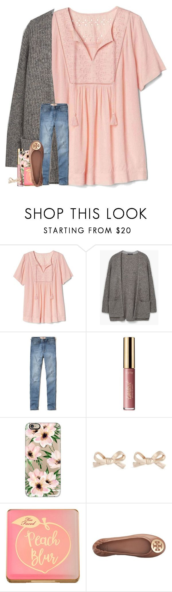 """trunk-or-treat at church tonight :)"" by madelinelurene ❤ liked on Polyvore featuring Gap, MANGO, Hollister Co., tarte, Casetify, Kate Spade, Too Faced Cosmetics and Tory Burch"