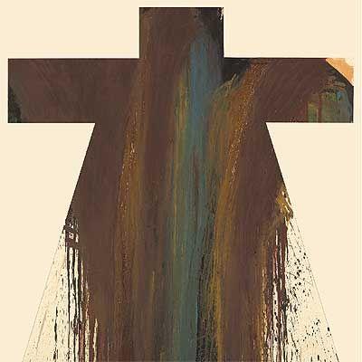Cruz camisa 3 (1989), óleo sobre madera, de Arnulf Rainer