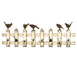"Weathered wood wall rack in white with a fence motif and bird accents. Includes eight coat hooks.     Product: Wall rack   Construction Material: Wood and metal   Color: White   Features: Eight hooks   Dimensions: 14"" H x 48"" WNote: Not recommended for outdoor useCleaning and Care: Wipe with dry cloth"