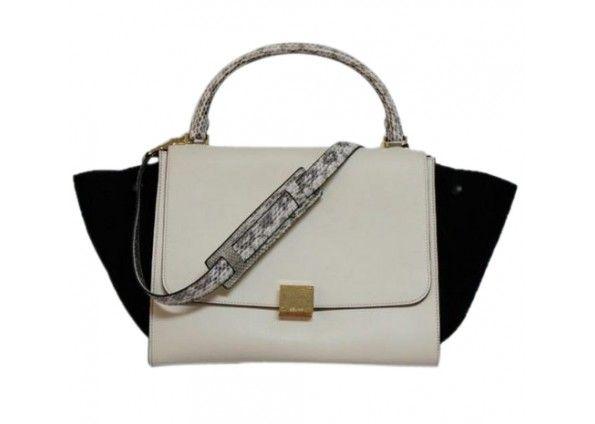 celine online - celine mini bicolor black leather cream tweed luggage tote, celine ...