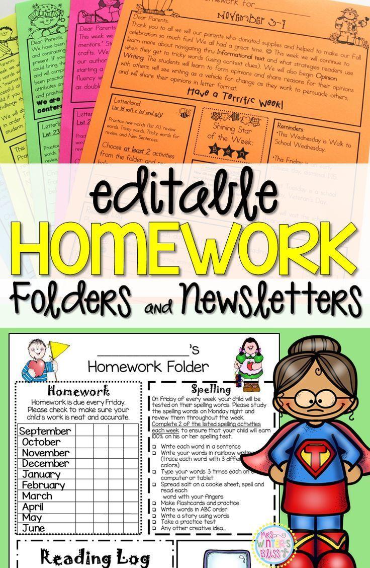 Carpetas y boletines informativos editables para la tarea - Ideas para ayudar a los estudiantes de kindergarten, primero o segundo grado con la organización. ¡Una manera fácil de comunicarse con sus padres!