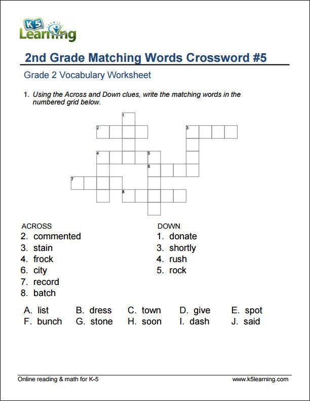 2nd grade matching words crossword fely vocabulary worksheets 2nd grade grammar vocabulary. Black Bedroom Furniture Sets. Home Design Ideas