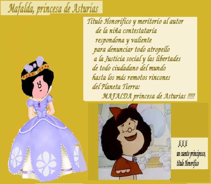 Mafalda en España para recibir el Premio:       Princesa de Asturias...