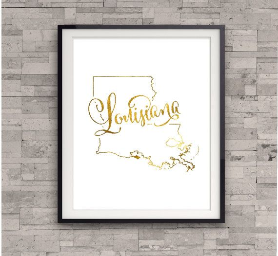 Hey, I found this really awesome Etsy listing at https://www.etsy.com/listing/195004640/louisiana-state-map-print-gold-foil