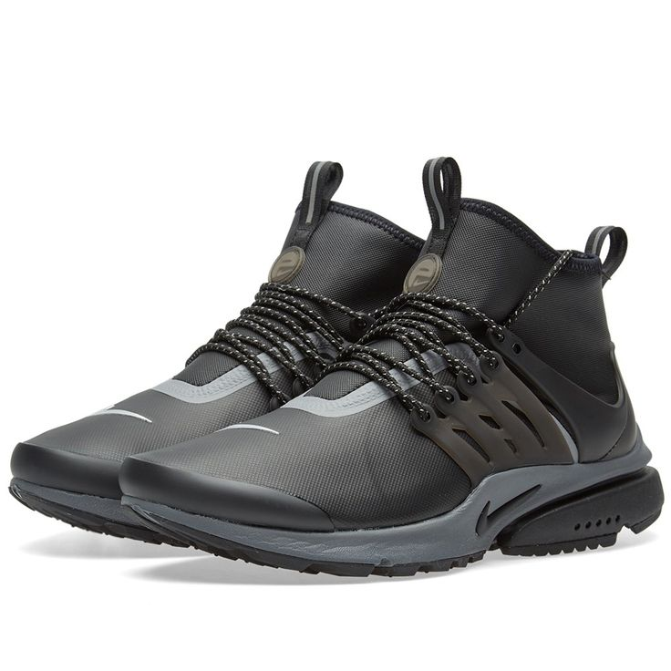 Nike provide classic comfort in the winter months with their latest edition of the Women's Air Presto Utility. Inspired by apparel design, the stretchy synthetic leather upper provides a sock-like fit and minimalist look, finished in a durable and water-repellent coating that helps keep your feet dry and comfortable in rainy weather. For when the surfaces become slippy, the sticky rubber and aggressive outsole pattern enhance traction on cold and wet surfaces.  Stretchy Synthetic Uppers…