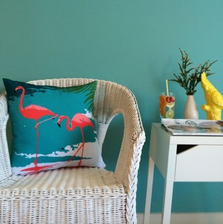 Christmas at #htfstyle Flamingo reversible cushion. Shop now at www.hardtofind.com.au