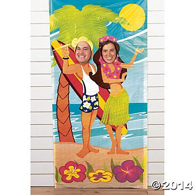 Luau Couple Photo Door Banner |  Use this luau decoration for some photo booth fun at your summer party! #luau #decorations #photobooth