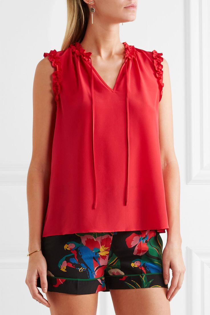 Red silk crepe de chine Slips on 100% silk Dry clean Designer color: Nantucket Red