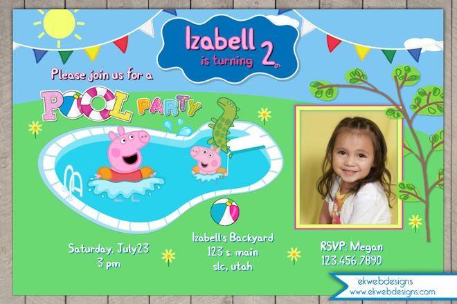 Custom Peppa Pig Pool Party Birthday Invitation