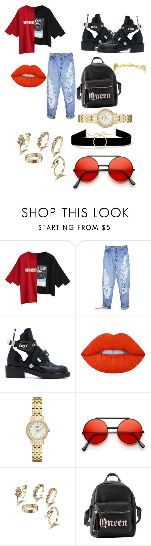 """""""A day out"""" by kaitlinnash ❤ liked on Polyvore featuring Balenciaga, Lime Crime, Kate Spade, Charlotte Russe and Anissa Kermiche"""