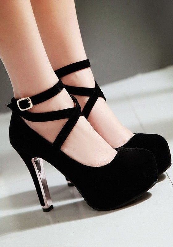 Schwarz Round Toe Cross Stiletto Ankle Strap Mode High Heels Plattform Pumps Hohe Schuhe Damen