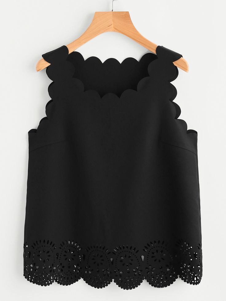 Scallop Edge Laser Cut Shell Top from SheIn {This is an affiliate link}