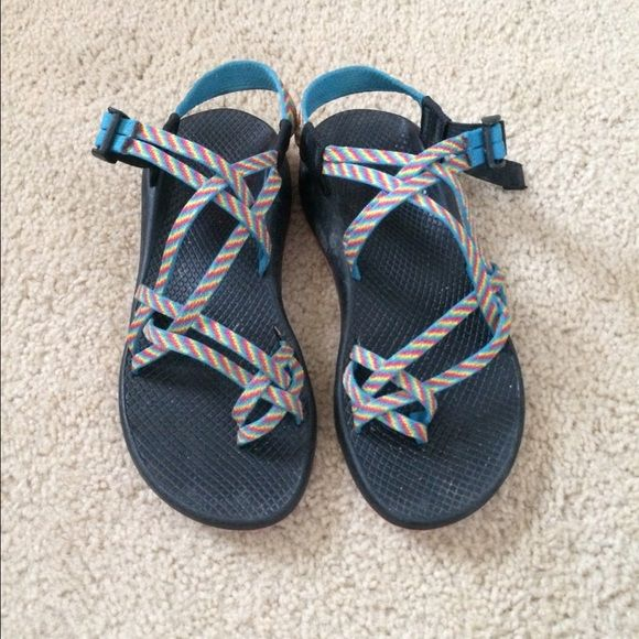 Chaco CHEAP!!!! Chacos with colorful strap, adjusting trap, lightly worn I'm selling because I got new ones! Love these shoes and so comfortable Chacos Shoes