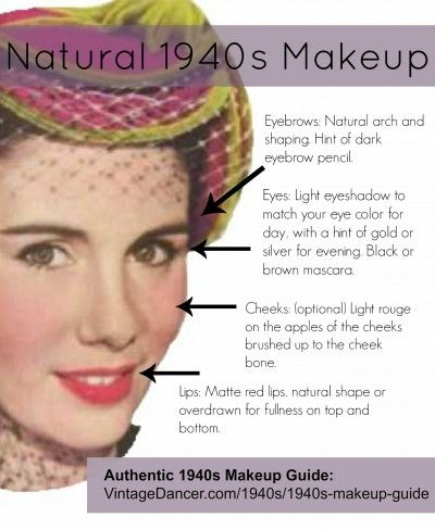 Natural 1940s makeup is a great every day look for any decade. VintageDancer.com/1940s