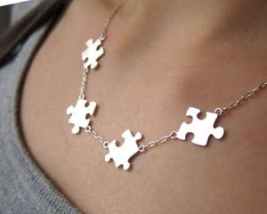 Image of Puzzle Necklace For Autism - 50% Sales go to Autism Society - Handmade Sterling Silver: Idea