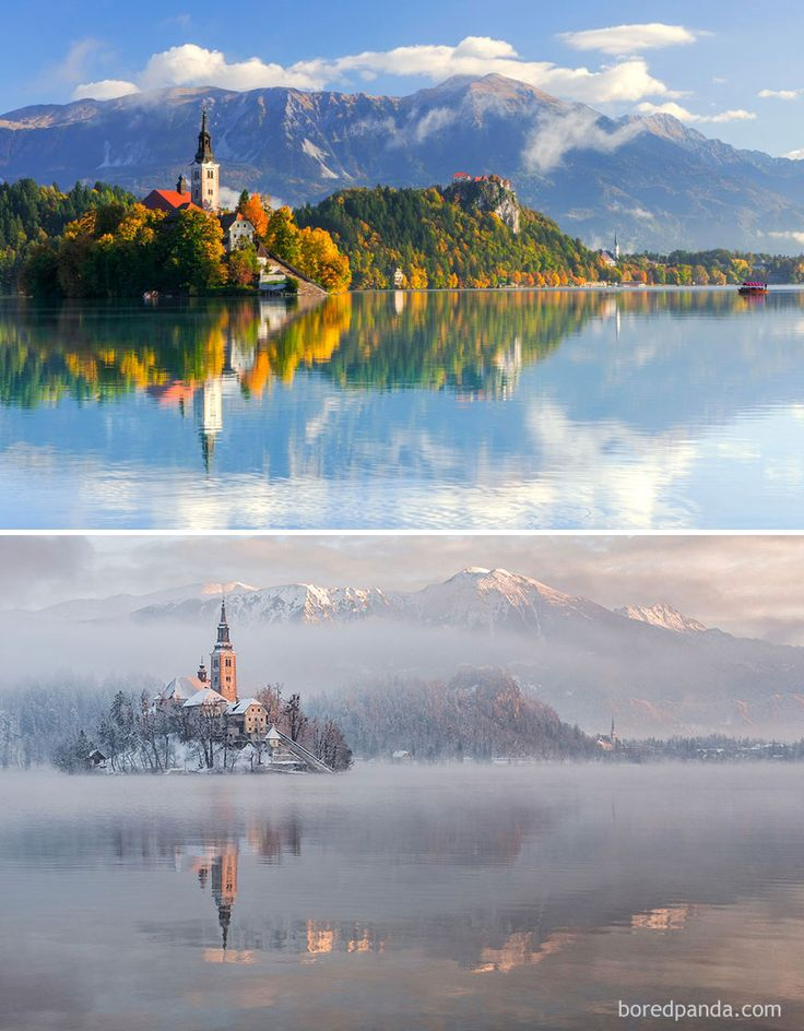 10+ Before-And-After Photos Of Winter's Beautiful Transformations / Lake Bled, Slovenia