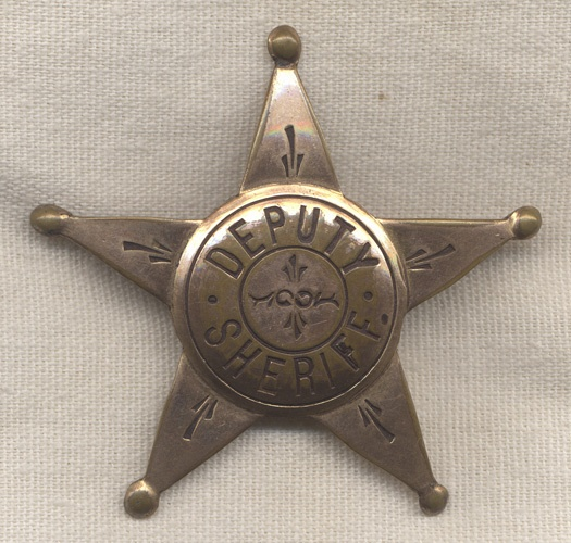 1890s Stock Deputy Sheriff 5 Point Star Badge Little