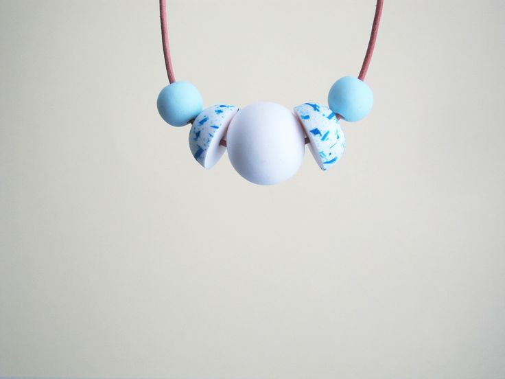 Pastel blue and white necklace by Floti on Etsy https://www.etsy.com/listing/200616547/pastel-blue-and-white-necklace