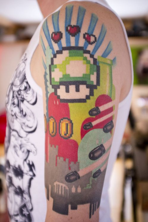 """""""Nintendo sleeve by Mina @ Hawk and Sparrows in Malmö, Sweden."""" (The best Mario tattoo I think I've ever seen. Love it!)"""