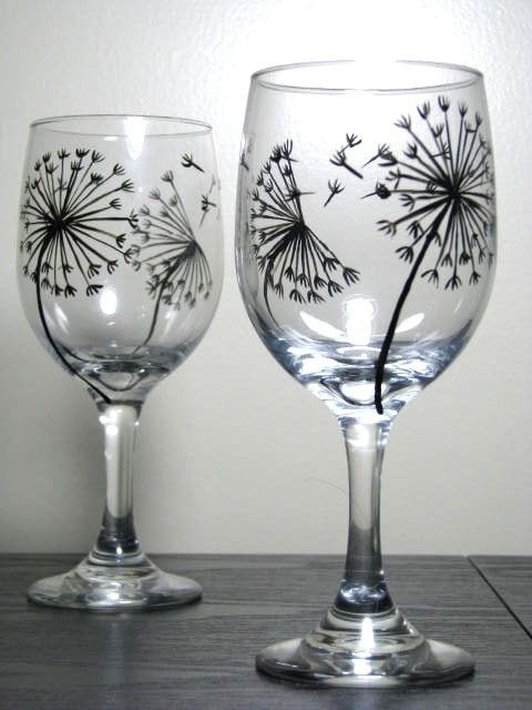 hand painted wine glasses dandelion collection set of 2 - Wine Glass Design Ideas