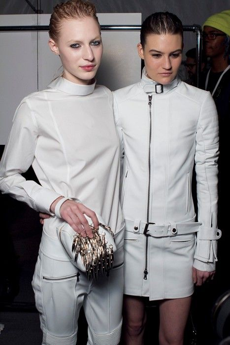 DIESEL BLACK GOLD AW13  Speed freaks in white leather live life in the fast lane on the NYFW catwalks