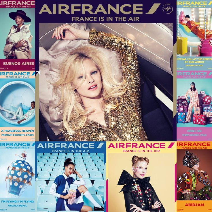 "Nouvelle vague d'affiches "" France is in the air "" par Air France ❤️❤️❤️ La compagnie aérienne Air France a dévoilé une deuxième vague d'affiches « France is in the air », créée par l'agence BETC ."