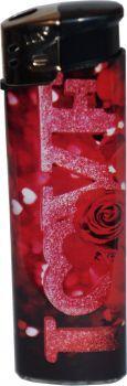 RZOnlinehandel - LUX Elektronik Feuerzeug Nachfüllbar Love Motiv - Rose Love