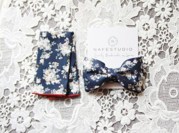 Mens Bow Tie Pre-tied Bow Tie For Men Floral Bow Tie Navy