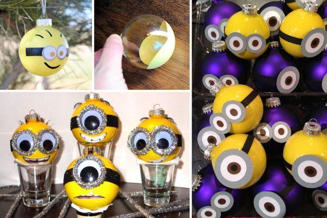 Boules de noel bricoler ou transformer minion no l pinterest see more best ideas - Les minions noel ...
