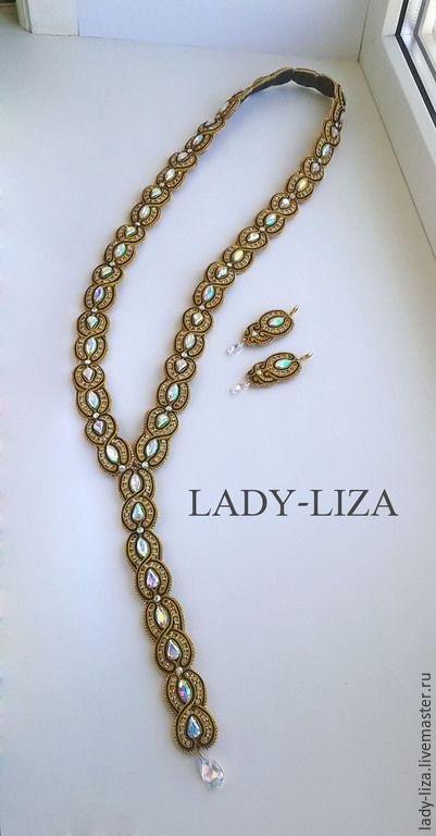 Купить Колье Обладание - сутажное золотое роскошное черное с кристаллами - золотой, черный, роскошь, стиль