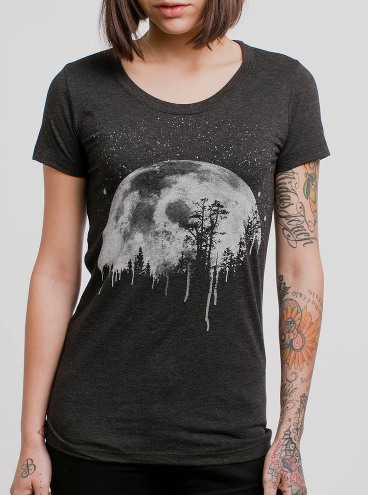 Moon - White on Heather Black Womens T-Shirt - Curbside Clothing