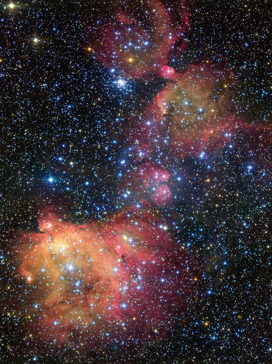 The glowing gas cloud #LHA120N55 | found in the Large Magellanic Cloud, a satellite galaxy of the Milky Way galaxy located about 163,000 light-years away. N55 is inside a supergiant shell or super-bubble, called LMC 4. superbubbles, which often reach hundreds of light years across, are formed when strong winds of newborn stars and the shockwaves from supernova explosions work together to expel most of the gas and dust that originally surrounded them, creating huge bubble-shaped cavities.