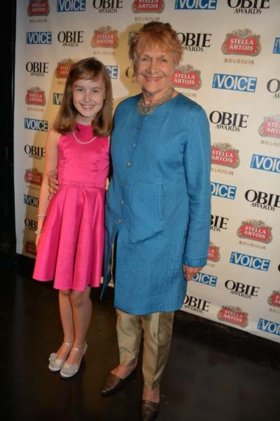 Estelle Parsons, Lifetime Achievement Award recipient and Sydney Lucas... The Youngest and Oldest Obie Awards Winners   THE 59th ANNUAL VILL...